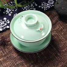 [GRANDNESS] Longquan Celadon Gaiwan Gongfu Чайный набор 3D Рыба Gaiwan набор супница чашка 140 мл