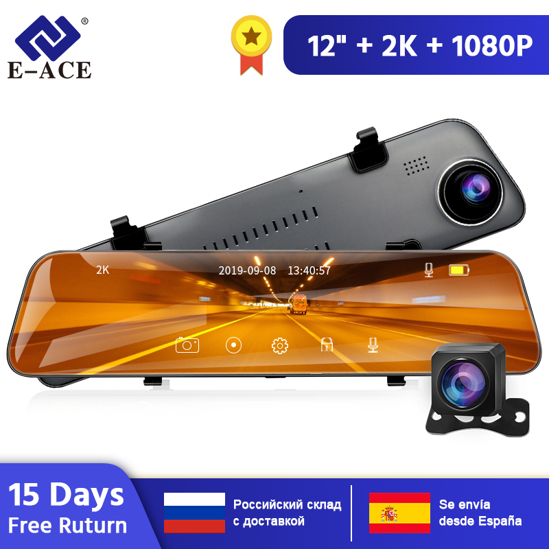 E-ACE A38 2K <font><b>Car</b></font> <font><b>Dvr</b></font> <font><b>Mirror</b></font> Ultra-HD 1440P Dash Cam 12 Inch Rear View <font><b>Mirror</b></font> FHD Video Recorder With Rear View Camera registrar image