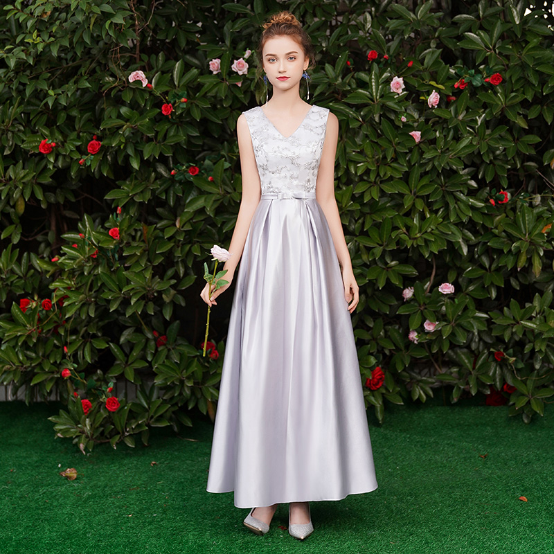 V-neck Embroidery Vintage Guest Wedding Party Dress Elegant Vestido Azul Marino Gray Bridesmaid Dress Junior Sexy Dress Prom