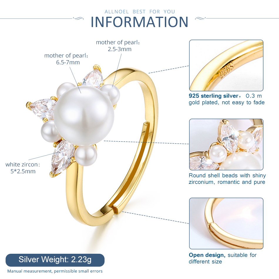 Image 5 - ALLNOEL 925 Sterling Silver Real Zircon Pearl Ring Female Yellow Gold Color Resizeable Party Trendy womens Silver 925 jewelry-in Rings from Jewelry & Accessories