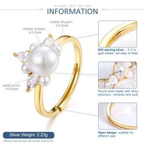 Image 5 - ALLNOEL bague en argent Sterling 925 en Zircon véritable perle en Zircon pour femme, couleur jaune or, refermable, bijou de fête, tendance 925