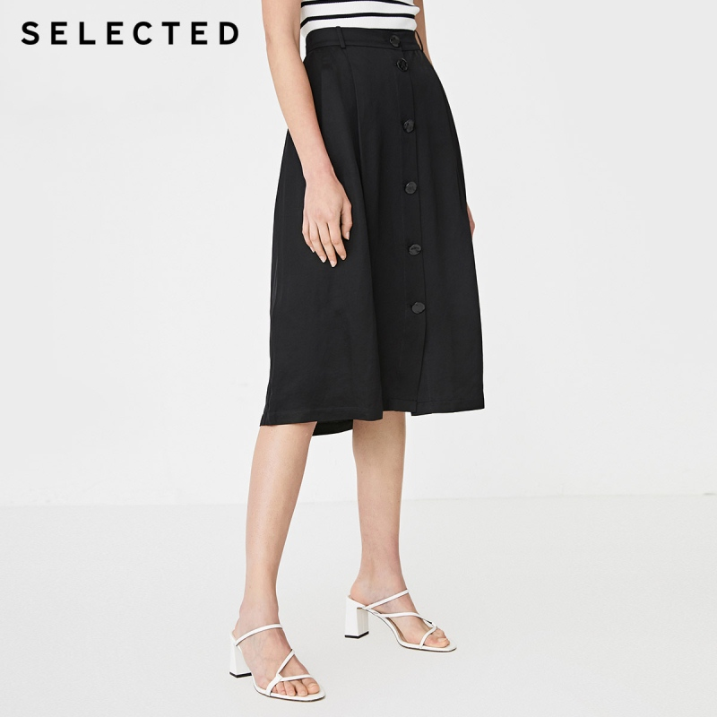 SELECTED Women's Buttoned Simple Commuting A-line Linen Skirt S|41924C521
