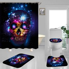 Scary Rusty Rotten Skull Halloween Shower Curtain Non-Slip Bath Mat Set Waterproof Polyester Bathroom Mat Rug Lid Toilet Cover(China)