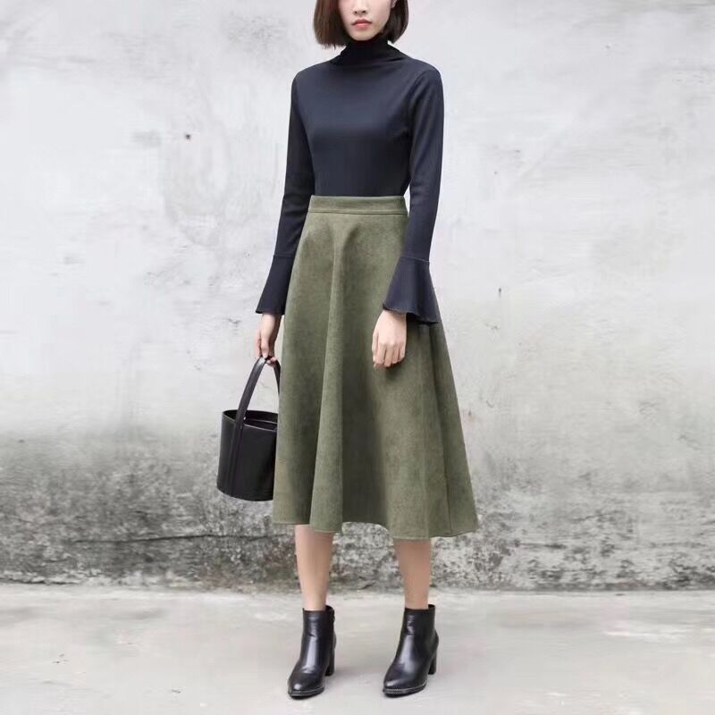Hf9ee80fe7e1d4e73a1b62af3732bae94p - Neophil Women Suede High Waist Midi Skirt Summer Vintage Style Elastic Ladies A Line Black Green Flare Fashion Skirt  S29A4