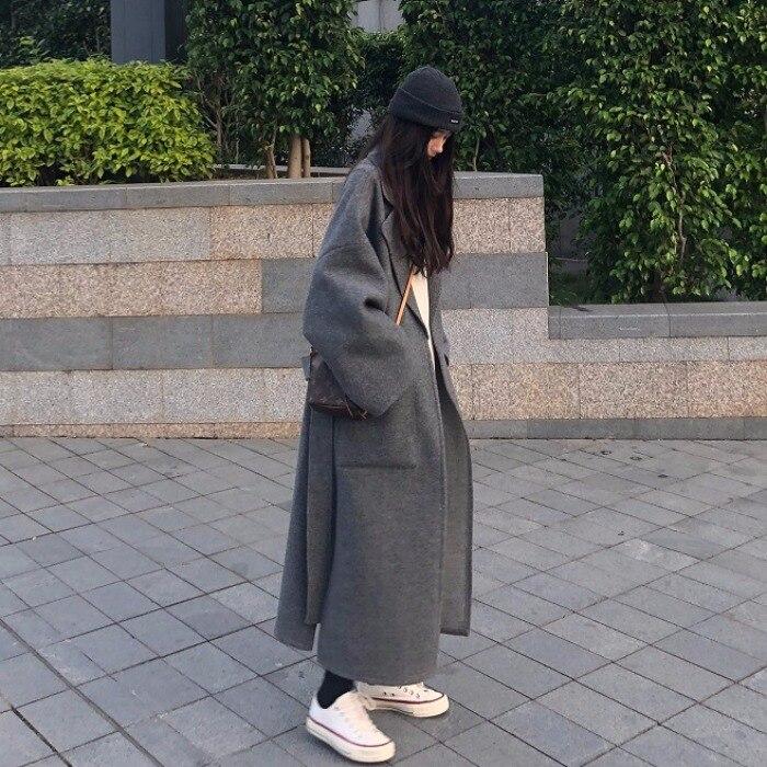 Coreano Chic E lungo Misto Lana Cappotto Delle Donne di Modo Del Manicotto Del Blocco Del Turn Imbottiture Collare Side Split Inverno Cappotto Di Lana - 2
