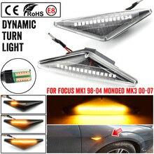 2 sztuk Repeater Side Marker LED dynamiczny włączony kierunkowskaz lampa sekwencyjna migacz dla Ford Focus Mk1 Mondeo Mk3