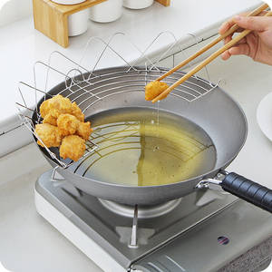 Gadgets Oil-Holder Drain Frying Semicircle Stainless-Steel Steaming Cooking Foldable