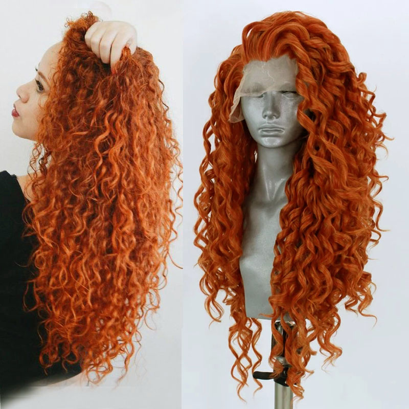 RONGDUOYI Long Orange Heat Resistant Wigs Synthetic Lace Front Wig Loose Deep Cosplay Wig Fiber Hair Front Lace Wigs For Women