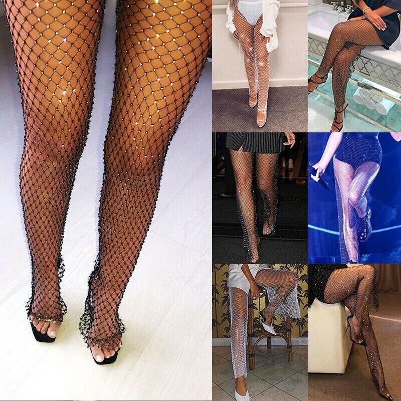 Women Lady Fishnet Diamond Shiny Elastic Beach Cover Pants Party Club Trousers Sexy Grid Cutout Flash Diamond Pants
