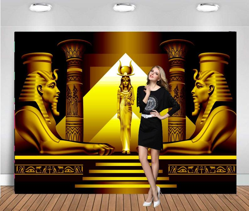 Photography Backdrops Gold Ancient Egypt Egyptian Themed Background Queen Party Backdrop Background Photography Photo Backdrop image