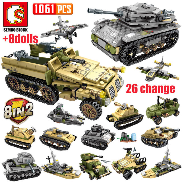 SEMBO 1061Pcs WW2 Deformation War Chariot Building Blocks Military Technic Tank Army Soldiers Figures Bricks Toys for Boys