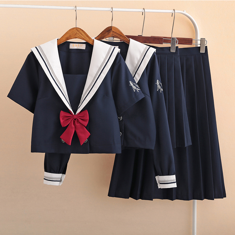 UPHYD Dark Blue Japanese School Costume Uniform For Girl Whale Embroidery Sailor Dress  Japanese Korean Students Uniforms
