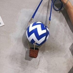 Image 3 - Женская сумка через плечо, в цветную полоску, с принтом воздушного шара