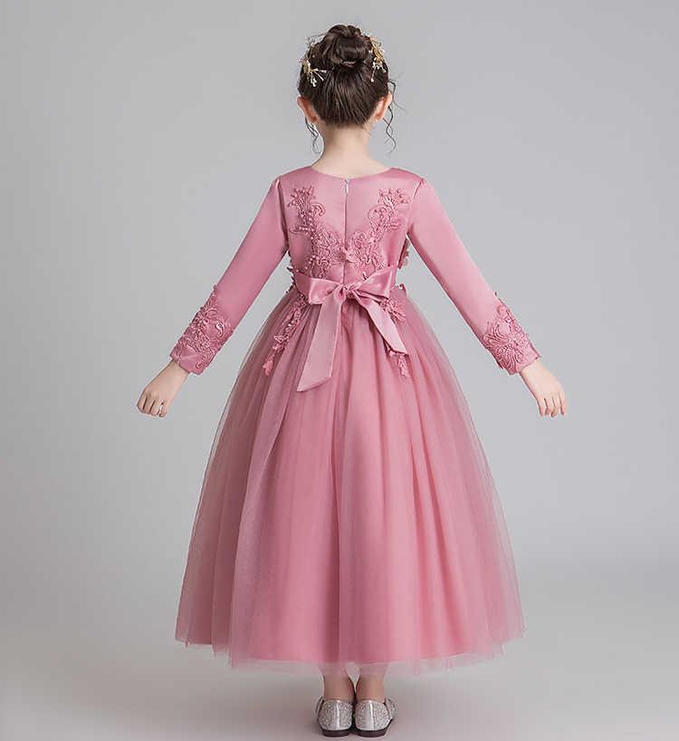 Пышные платья для девочек; платье для первого причастия; платье для свадебной вечеринки; платье для дня рождения; детские кружевные вечерние платья с лепестками; длинное платье для торжеств