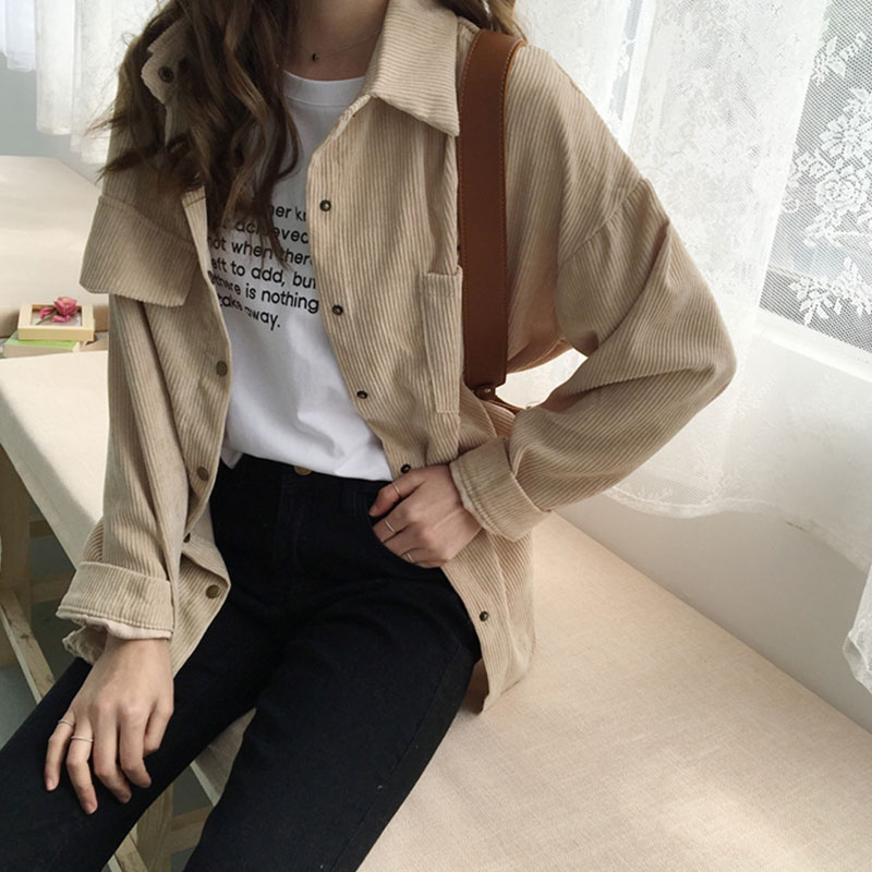 Women's Shirt Work Plus Size Boyfriend Button Blouse Woman Shirts Casual Long Sleeve Korean Fashion Clothing Corduroy Shirts