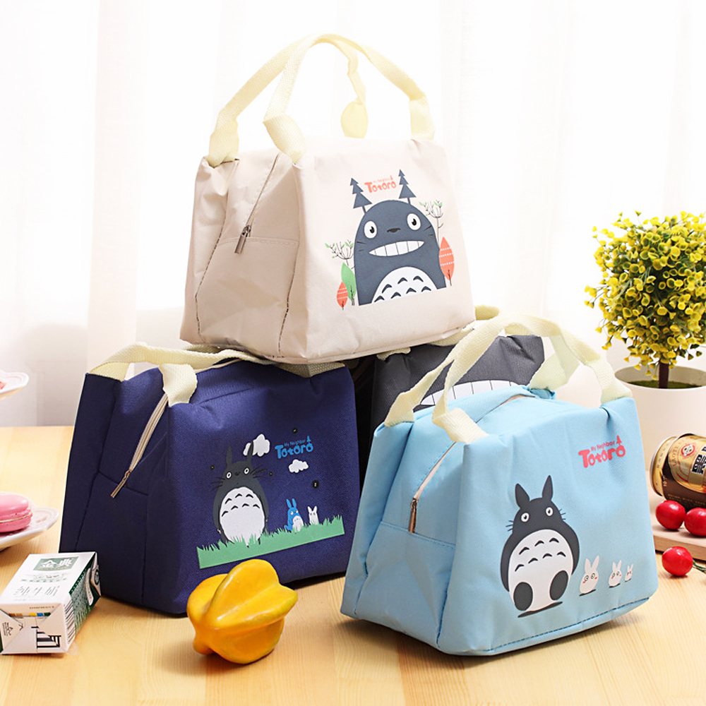 New Cartoon Totoro Insulated Lunch Bag Students Portable Lunch Box Bag Fruit Milk Cooler Tote Takeaway Snack Picnic Bag