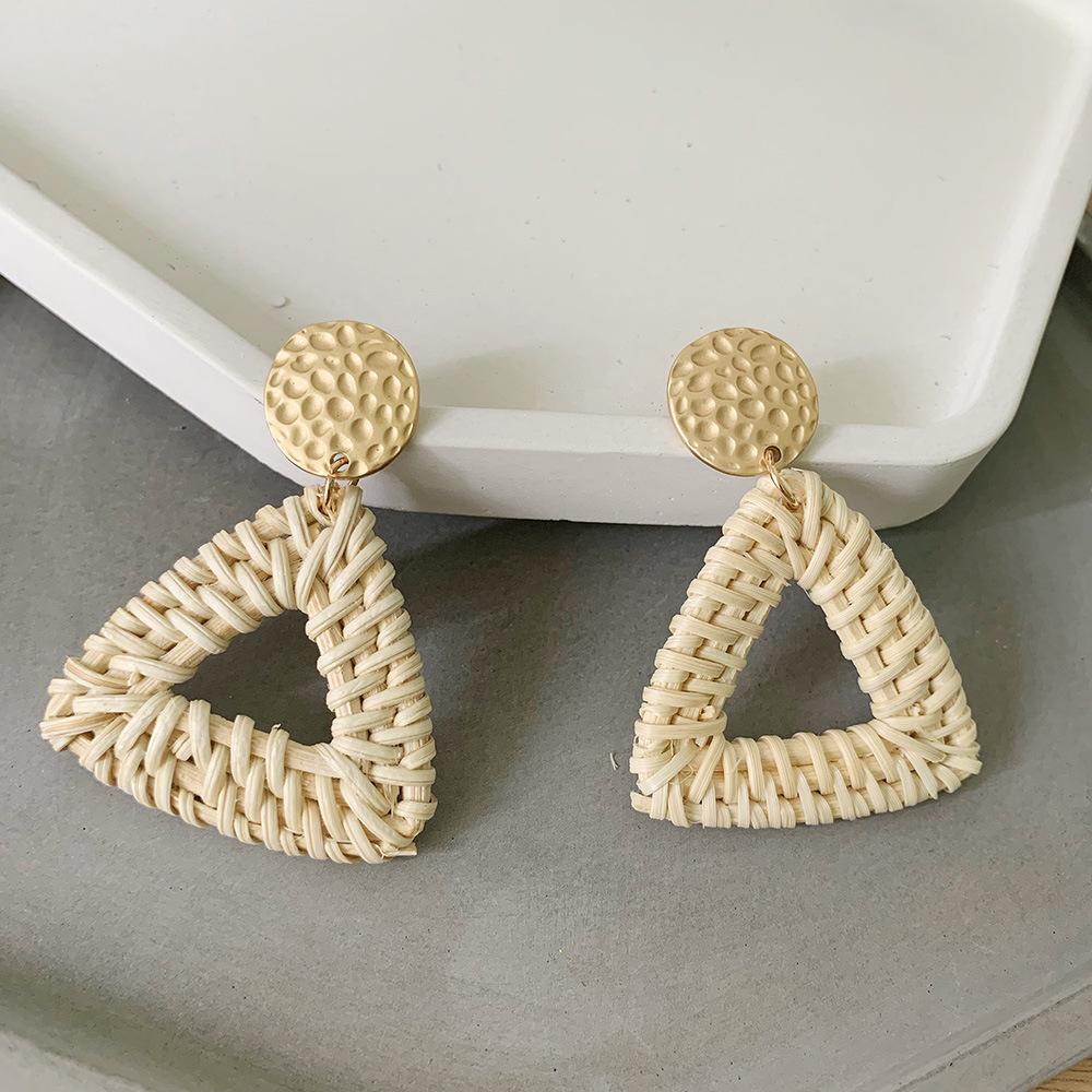 Bohemian Wicker Rattan Knit Pendant Earrings Handmade Wood Vine Weave Geometry Round Statement Long Earrings for Women Jewelry 10