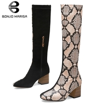 BONJOMARISA Brand New Design Plus Size 32-48 Chunky Heels Knee High Boots Woman Shoes Zip Up Mix Color Autumn