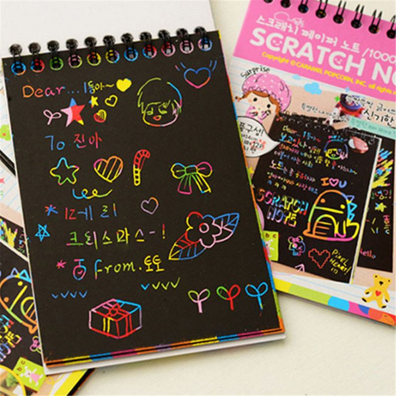 Scratch Sketch Art Notes Rainbow Scratch Magic Doodle Notes Perfect Travel Activity Gift For Girls Boys AXYA