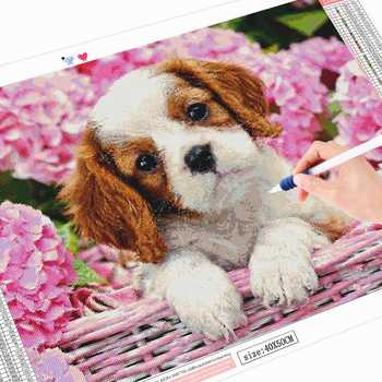 HUACAN 5D DIY Diamond Painting Dog Diamond Mosaic Animal Picture Of Rhinestone Diamond Embroidery Cross