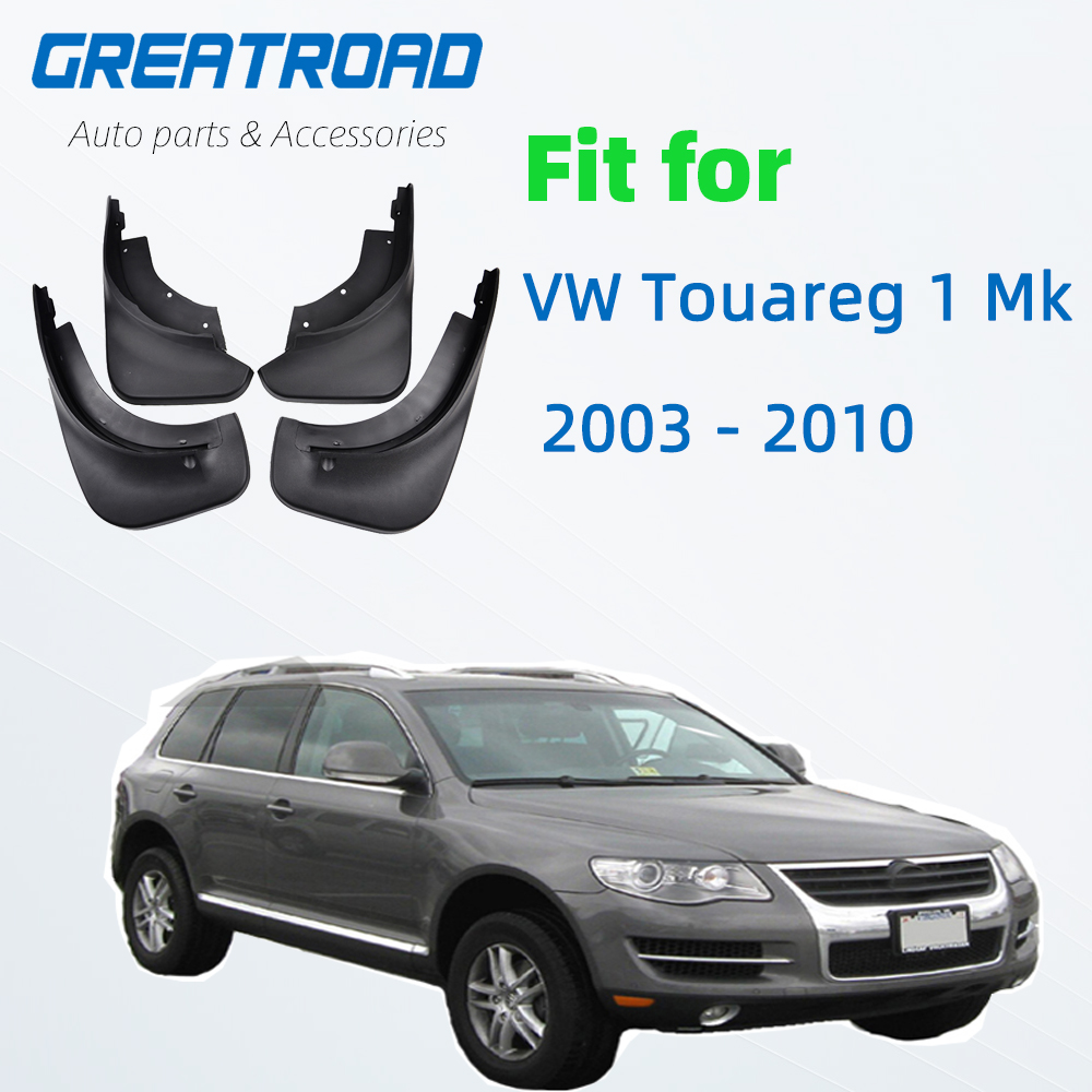 VW Touareg 1 Mk1 2003-2010 Mudflaps 스플래쉬 가드 전면 리어 머드 플랩 플랩 머드 가드 Fender 2004 2005 2006 2007 2008 2009