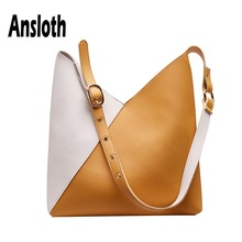 Ansloth Panelled Color Bag For Women PU Leather Shoulder Lady Large Capacity Handbag Female Travel Tote HPS649