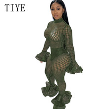 TIYE Autumn Sexy Long Sleeve Openwork Solid Color Mesh Trousers Fashion Pencil Pants Elegant See Through Grid Ruffles Jumpsuits