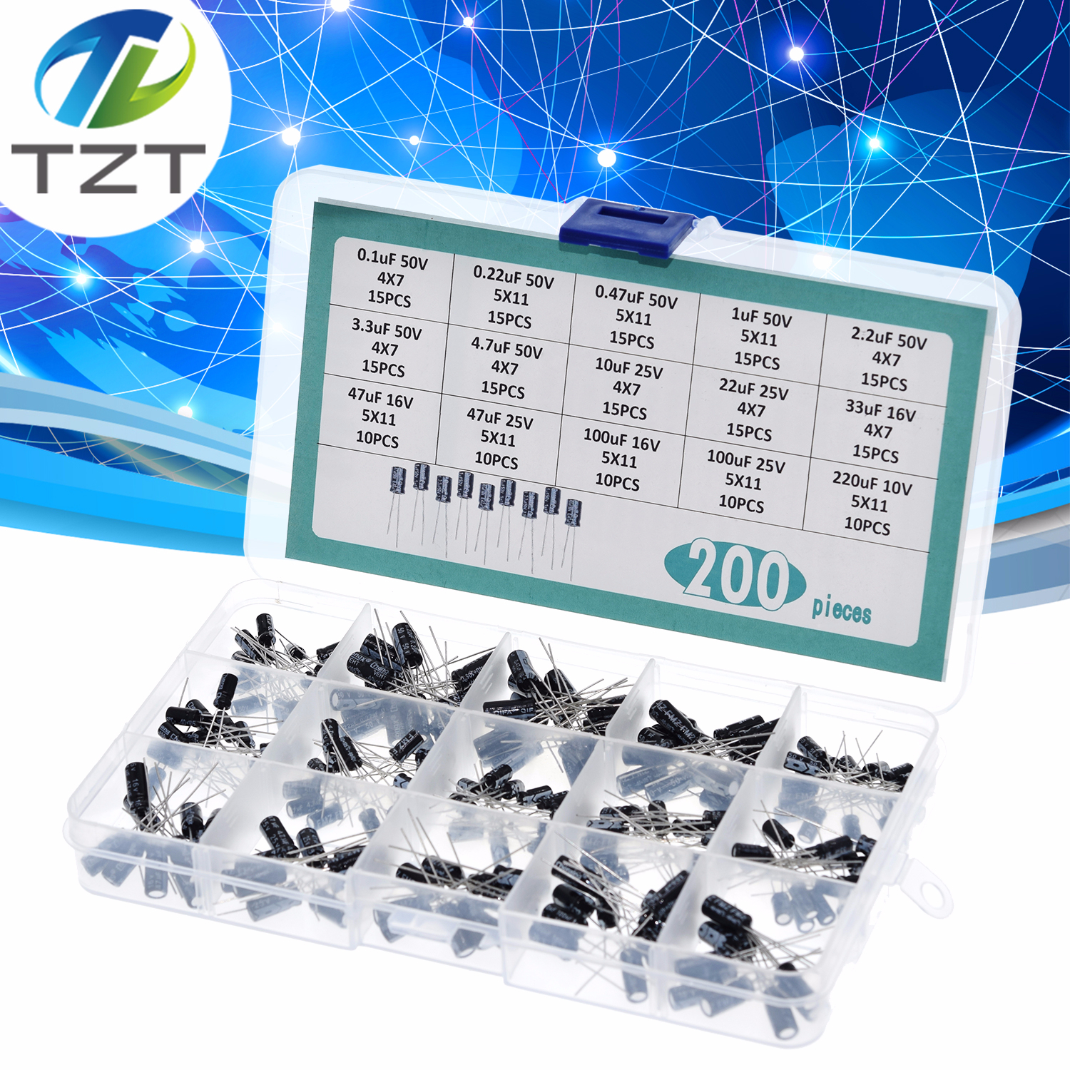 200pcs DIY 15 Values 0.1uF-220uF Electrolytic Capacitor Assortment Kit with Box