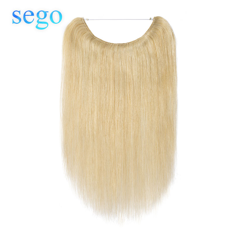 """SEGO 16""""-24"""" Straight Fish Wire Human Hair Extensions Brazilian Non-remy Invisible Body Wave Flip In Halo Hair Extensions"""