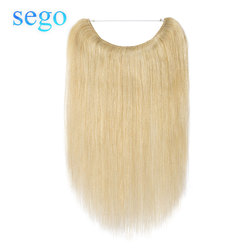 SEGO 16-24 Straight Fish Wire Human Hair Extensions Brazilian Non-remy Invisible Body Wave Flip in Halo Hair Extensions