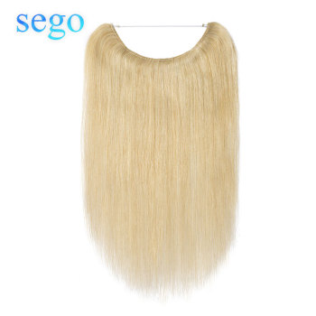 "SEGO 16""-24"" Straight Fish Wire Human Hair Extensions Brazilian Non-remy Invisible Body Wave Flip In Halo Hair Extensions"