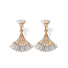 NJ Vintage Ethnic Design Hanging Dangle Earring For Woman Retro Drop Earrings Crystal Gold Wedding Party Jewelry