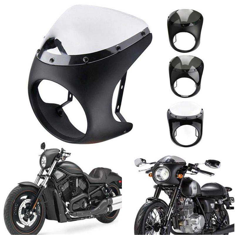 Cafe Racer Fairing Handlebar Bobber Windshield-Kits Motorcycle-Headlight FLHT Sportster 1200 title=