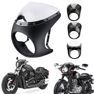 7inch Motorcycle Headlight Handlebar Fairing Windshield Kits Cafe Racer For Sportster 1200 883 FLHT Bobber Touring(China)