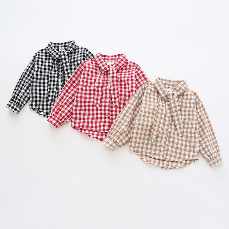 19 Autumn New Style Korean-style Kids' Shirts Small CHILDREN'S Bow Collar Shirt Girls Plaid Pure Cotton Shirt