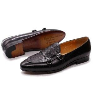 Image 3 - FELIX CHU Classic Monk Strap Mens Loaferหนังแท้สุภาพบุรุษงานแต่งงานCasualรองเท้าสีดำผู้ชายชุดรองเท้า
