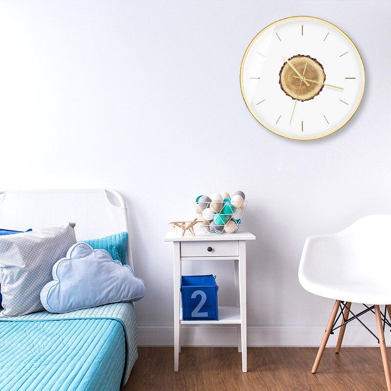 Horloge murale moderne minimaliste en bois silencieux salon créatif montres à Quartz accessoires de décoration de chambre horloges murales rondes - 4
