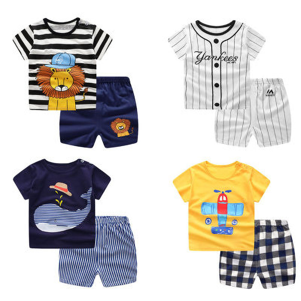 Baby Cotton Suit Boys And Girls Sportswear Summer Baby Clothing Children Short Sleeve Suit 0-24 Months