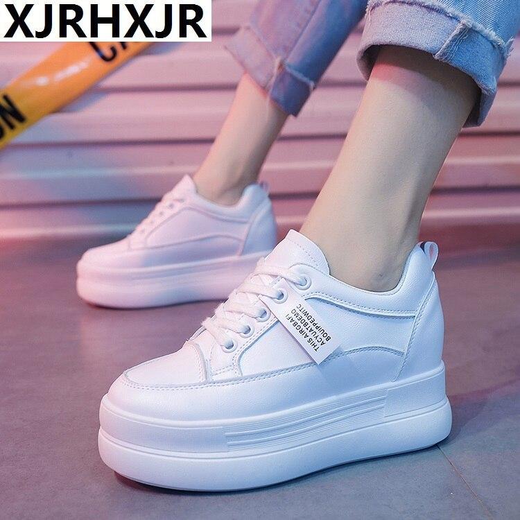 2019 Hidden Heels Women Platform Wedge Sneakers Ladies Leather White Shoes Female Krasovki Tenis Feminino Casual 8cm Heel