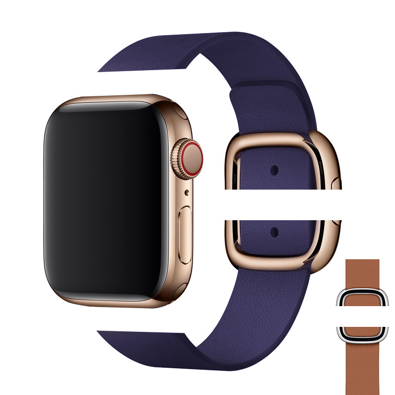 OTMENG Genuine Leather Strap 38mm 40mm 42mm 44mm Magnetic Buckle  Suitable For Apple Watch Band IWatch Series 5 4 3 2 Bracelet