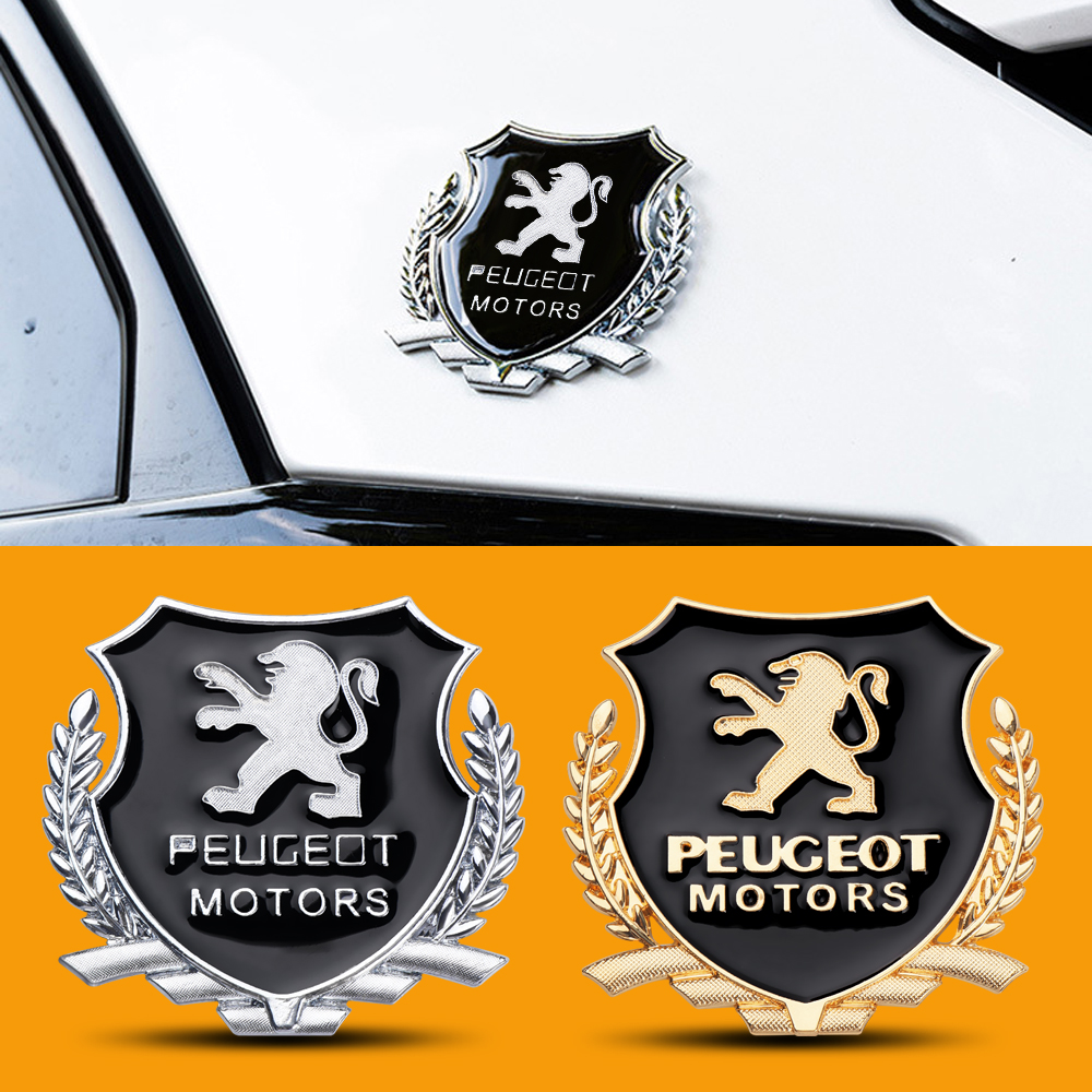 2Pcs 3D Metal Car-Styling Decoration Emblem Auto Window Sticker For Peugeot 206 207 301 307 308 407 408 508 Auto Accessories