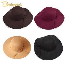 Autumn Winter Hat for Kids Wool Bow Children Girls Hat Adjustable Bowler Hats Kids Cap Autumn Spring 4-8 Years