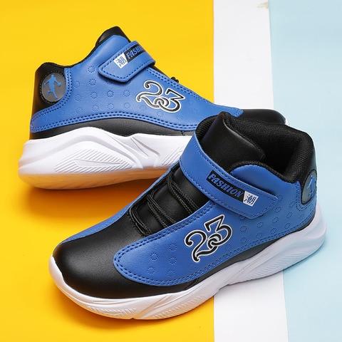 2019 Autumn Winter Boys Basketball Shoes Non-slip Leather Children Sport Shoes Outdoor Boys Basket Shoes Jordan Shoes for Kids Lahore