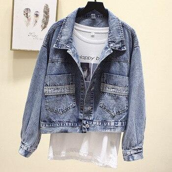 Veste de printemps en jean Vintage pour femme, déchiré, surdimensionné, coupe-vent, petit ami, grande taille, manteaux pour vêtements de dessus 1