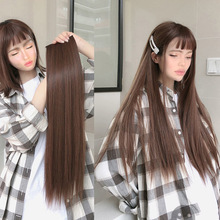 Hair Long Heat-Resistant Clip-In Straight Black Synthetic Women for Ailade18-24-