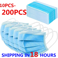 10-200PC Mask Disposable Nonwoven 3 Layer Ply Filter Mask Mouth Face Mask Anti Flu Dust Pollution Safe Protective Masks In Stock