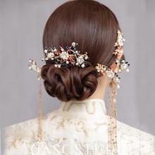 Bruid Chinese Rode Hoofdtooi Oorbellen Vintage Parel Kwastje Haarspelden Kam Bruiloft Haar Accessoires