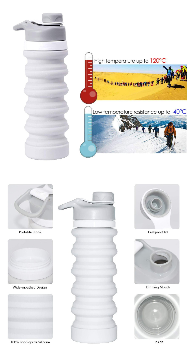 550ML Portable Silicone Travel Retractable Folding Leak Proof Collapsible Drinking Bottles