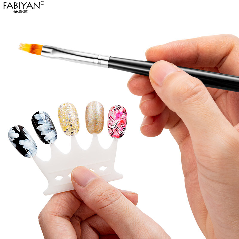 Nail Art Gradient Uneven Brush Pen Nylon Hair UV Gel Polish Tips Serrated Jagged Drawing Painting Black Wood DIY Tools Manicure