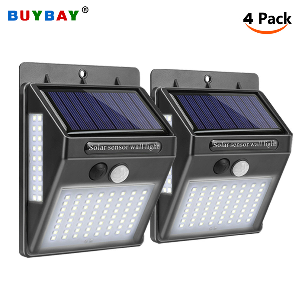 4 Pack LED Solar Security Lights Outdoor Led Solar Lamp With Motion Sensor Wall Light IP65 Waterproof Solar Powered Garden Lamp